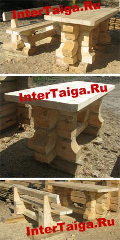 Рубленые стол и лавки для беседки или бани